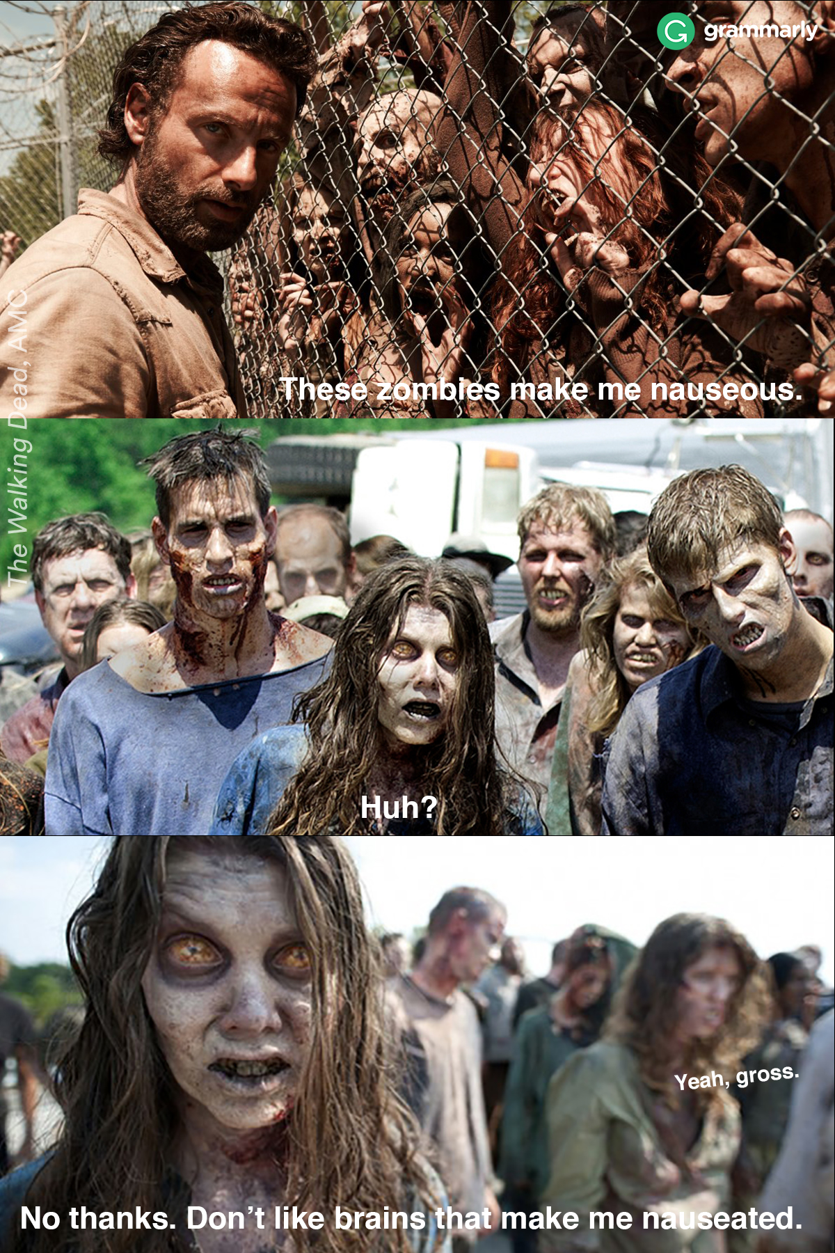 Nauseous and nauseated difference explained by zombies.