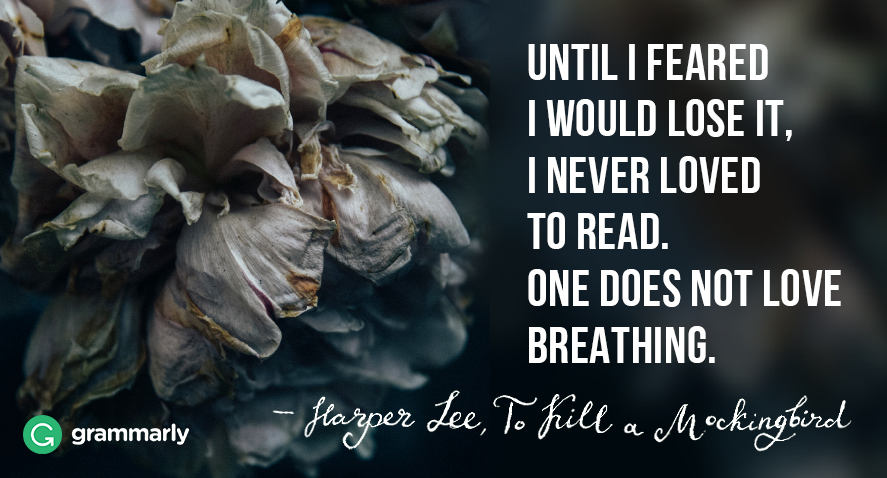 Until I feared I would lose it, I never loved to read. One does not love breathing. Harper Lee quotation.