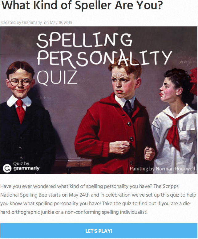 Grammarly Spelling Personality Quiz Feature Image