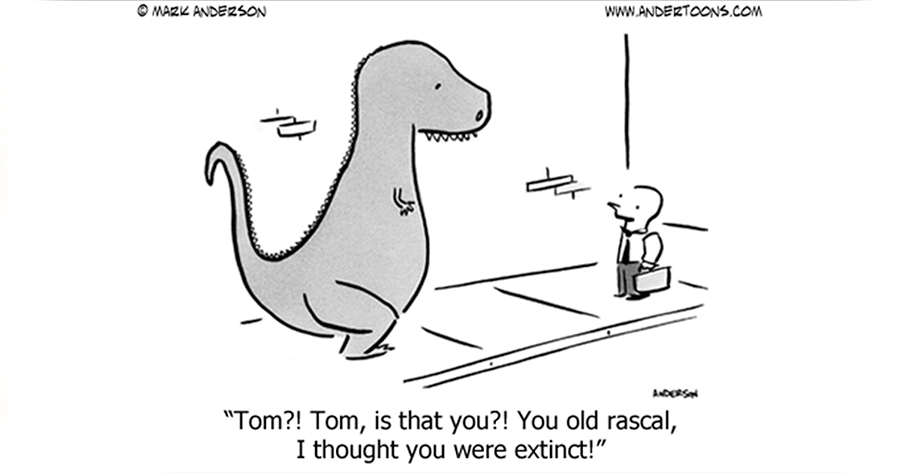 Dinosaur extinct joke by Andertoons