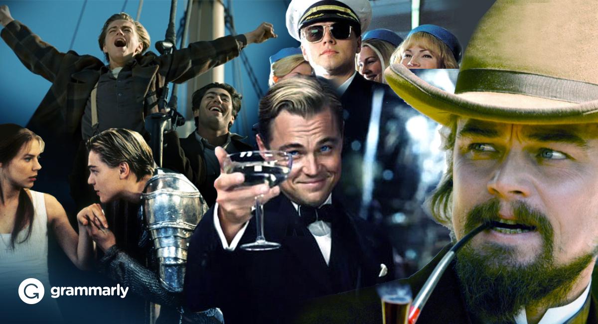 Collage of Leonardo DiCaprio in his various films.