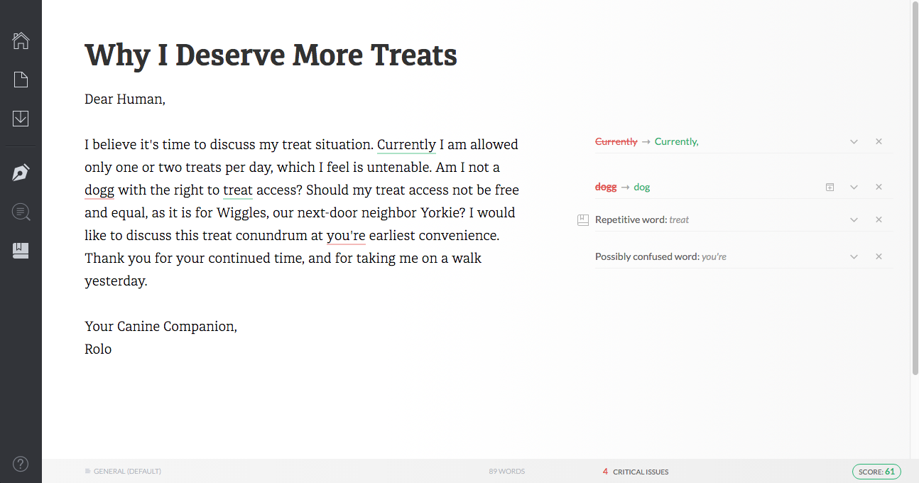 Grammarly for Dogs product sample