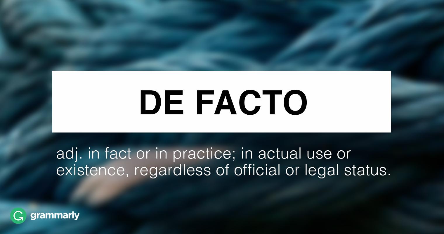 """What Is """"De Facto""""? Image"""