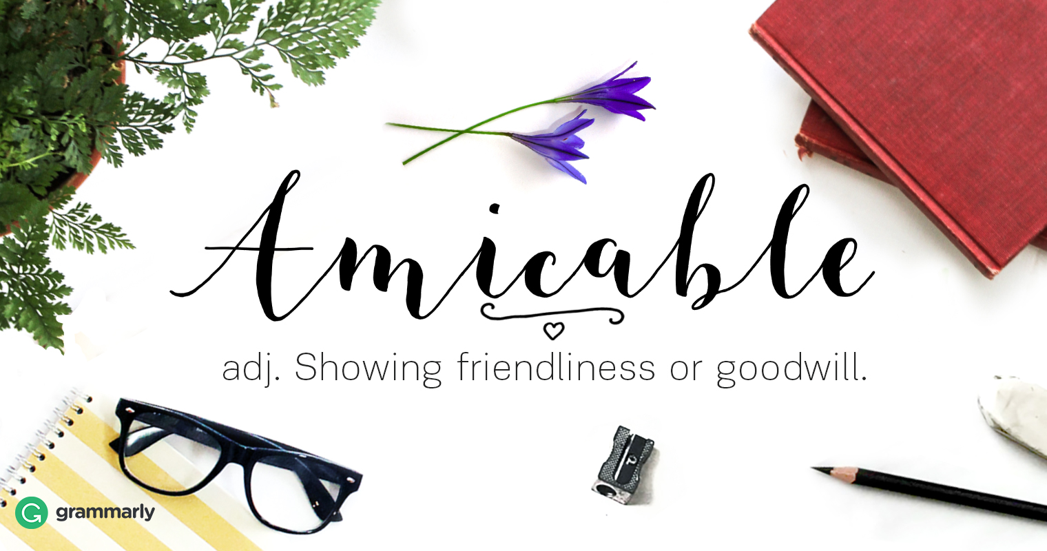 amicable adj. 1.Showing friendliness or goodwill.