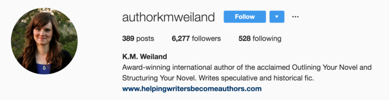 instagram bio author