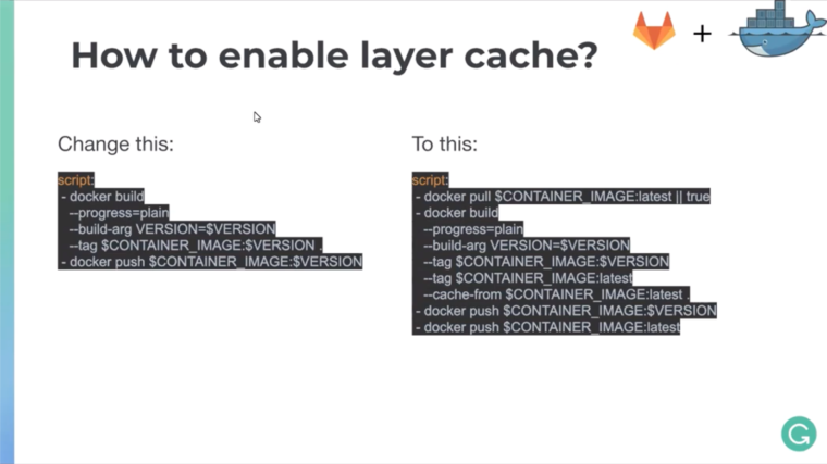 Enabling Docker layer cache image